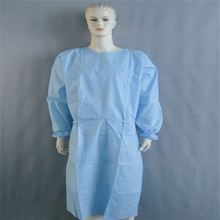 Medical Disposable Nonwoven Blue CPE Impervious Surgical Gown With Thumb Up Over Head And Open Back Drapes Good Quality