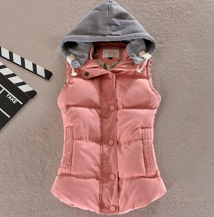 pink winter thick hooded padded down vest for women