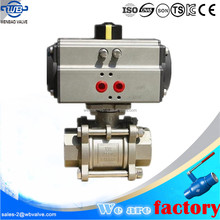 (WB-71) ss316 3pc thread pneumatic stainless steel ball valve PN63