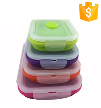 Competitive Price 100% Food Grade Portable Collapsible Silicone Folding Lunch Box