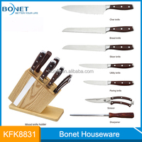 7 pcs pakka wood handle non-stick stainless steel knife set with wood knife holder