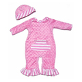 Rose pink romper with hats set, minky dot overall for baby or toddler girl