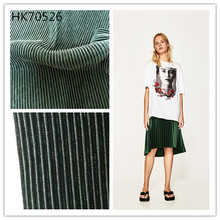 wholesale solid green color 100%polyester knit pleated fabric for dresses