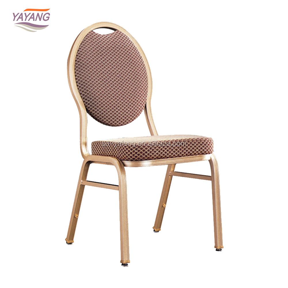 Fashionable cheap stackable round back metal Rental banquet chairs for restaurant