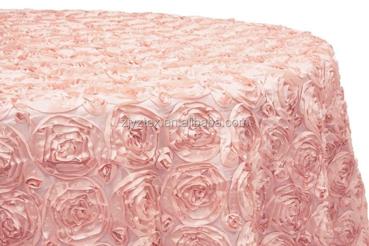 Rosette Satin Tablecloth Ribbon Rose Wedding Cake Table Overlay