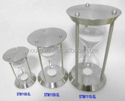 glass sand timer with metal frame; metal hourglass
