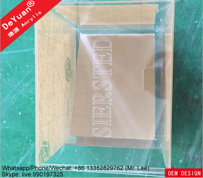 Transparent print your logo acrylic packaging shoe boxes