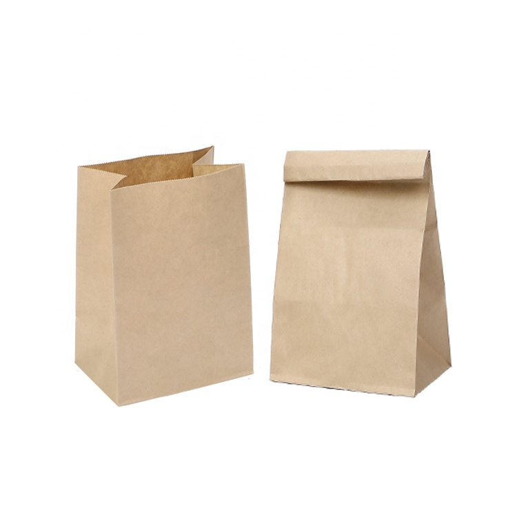 Eco Friendly Durable Custom Printed Grocery Brown Kraft Paper Lunch Bag Without Handle