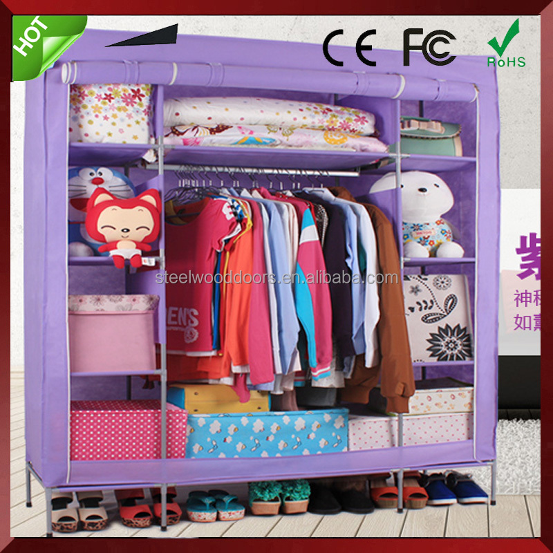 Luxury folding wooden fabric cloth wardrobe fabric wardrobe