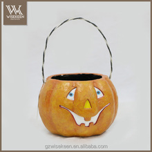 Vintage Paper Mache Pumpkin Decorative Buckets halloween Decoration