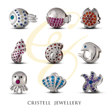 High polish 925 sterling silver beads charms pendants with AAA Cubic Zircon stones