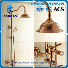 Gold plated surface mounted rain shower faucet colorful bathroom set