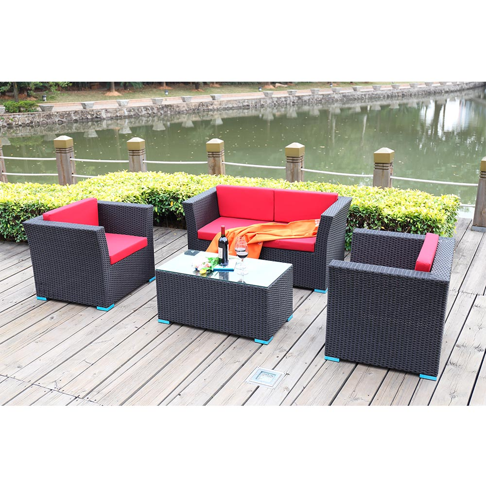 High end patio furniture rattan outdoor furniture sofa set for Outdoor furniture high end