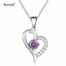 Top Selling Heart Zircon Love Necklace Jewelry Free Samples Fashion Women Gold Necklace for Wedding