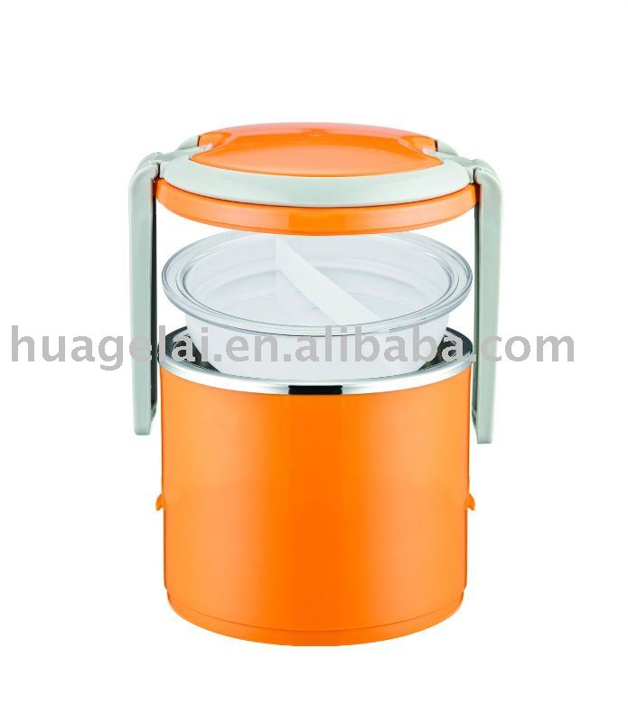 Stackable Insulated Stainless Steel Portable Lunch Box Bento 2/3 layers(high quality) white/orange