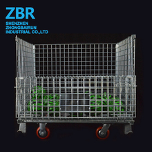 Heavy Duty Industrial Collapsible Steel Metal Wire Mesh Baskets with Wheels