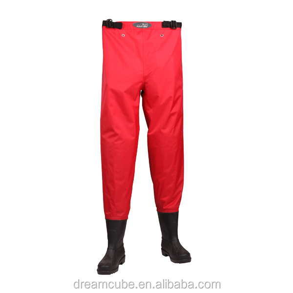 Cheap 210D Nylon/PVC Red fishing chest wader with high quality