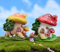 Moss micro landscape decorative resin garden mushroom ornament