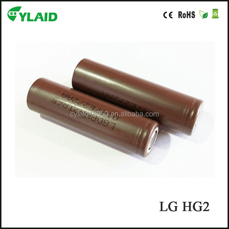 Authentic brown lg hg2 18650 battery with special price vs Cylaid 3000mah 3.7v battery