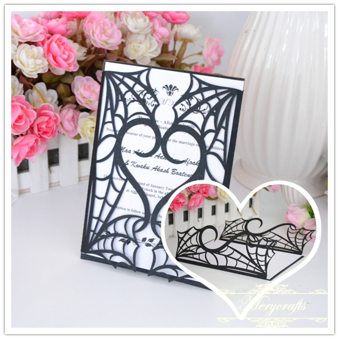 Gothic spider web black halloween invitations laser cut invitation card wedding gatefold