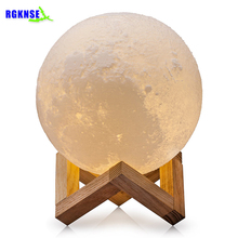 RGKNSE 2017 Hot Sale Christmas Gift 2 Color Lunar Night Light LED 3D Printing Moon Lamp with USB Charging Home Decoration