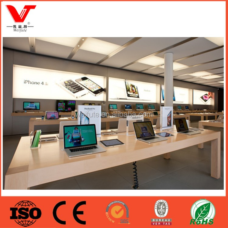 Commercial wooden display showcase table for mobile phone store interior design