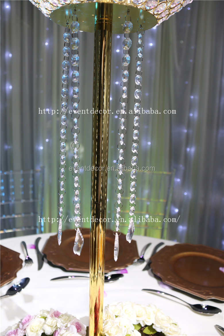 Gold table flower stand centerpieces tall wedding