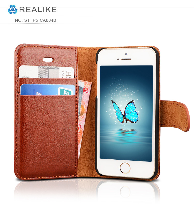 Leather stand smartphone case wallet style for iphone 5c case