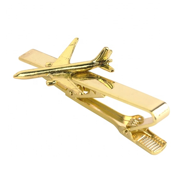 New high quality copper cheap custom gold  PLANE tie clip