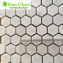 The high quality carrara white 25mm marble stone mosaic tile for wall
