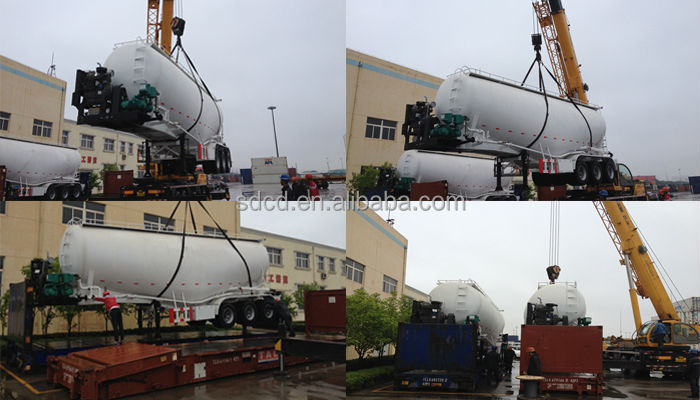 1.3axle V shape 50 ton bulk cement trailer -----flat rack to Jamaica
