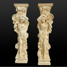 Modern Art Building Decoration Beige Color Concrete Mould Marble Lady Carved Column Pillar