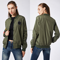 Fashion green customize label bomber jackets polyester women autumn jacket
