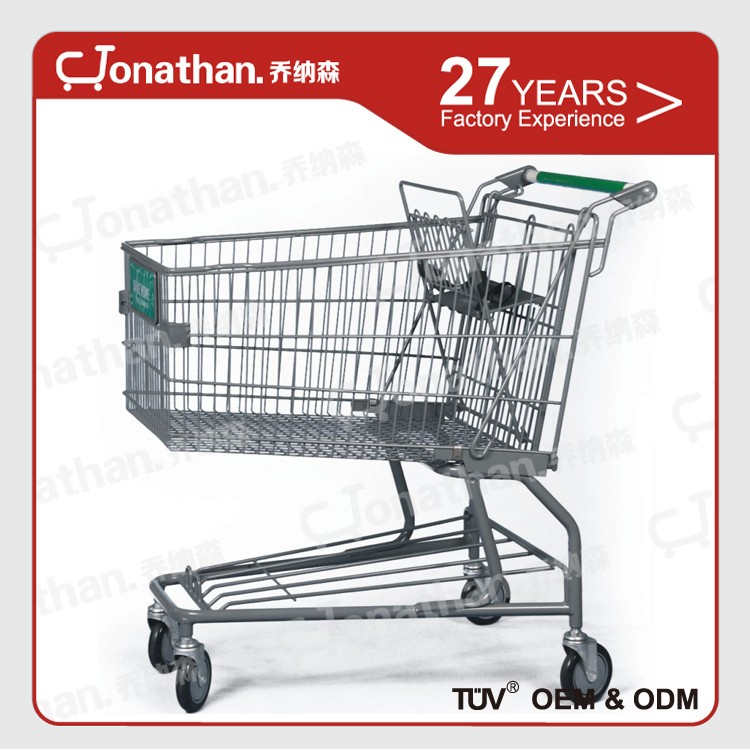 140L carry Fruits and vegetables green metal shopping cart trolley