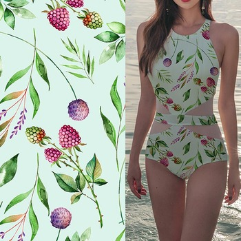 Floral printing wholesale polyester stretch swimwear fabric