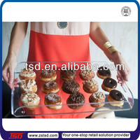 TSD-A965 food grade clear acrylic wholesale serving trays/plastic cupcake serving tray/lucite serving tray with handles