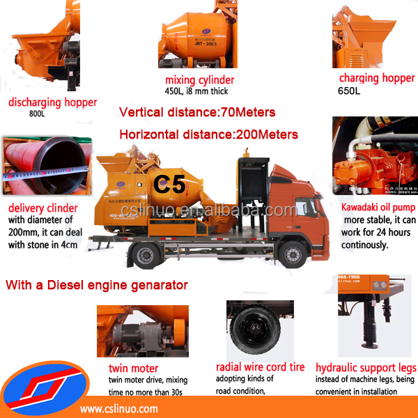 Linuo C5 high quality diesel concrete pump and mixer,portable concrete mixing pump,concrete pump with mixer