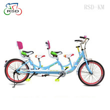 4 seats surrey bike with 3 pedal/2 big comfort backrest colored/20 inch single speed hand brake