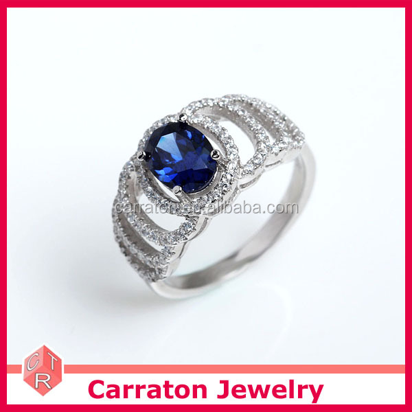 Blue Sapphire 92.5% Solid Silver Color Stone Wedding Ring