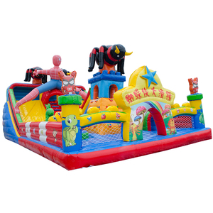 Spider children fun inflatable castle bouncer with slide