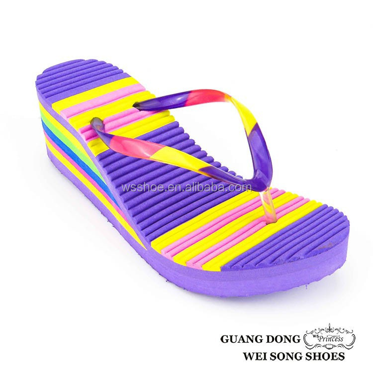 bright colorful EVA material for decorated flip flop women slippers heel shoes