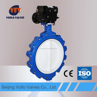 Ductile Iron/WCB body Full PTFE Butterfly Valve