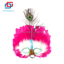 Half Face Beautiful Rose Red Party Mask with Peacock Feather