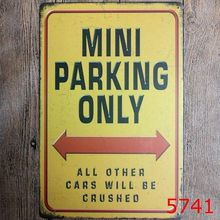 H&D Mini Parking Only Custom Souvenir Tin Nameplate Metal Plate Sign Vintage