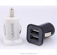 High quality Universal Dual 2 Port USB Car Charger For iPhone iPad iPod SAMSUNG GALAXY S4 S5 3.1A Mini Car Charger Adapter