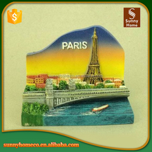 2017 Hot Selling Wholesale Resin Tourist Souvenir 3D France Custom Fridge Magnet