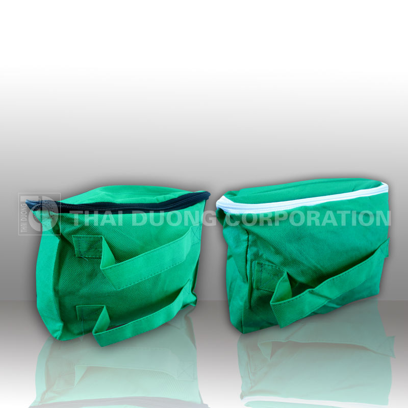 Green color, white zipper, Aluminium foil non woven bag