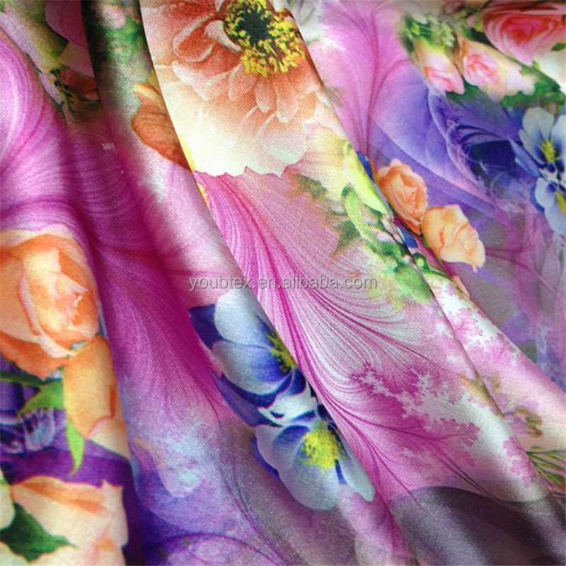 2017 High quality soft polyester spandex printed satin fabric