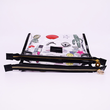 High quality pu cosmetic bag cheap eco-friendly plastic pvc with zipper heap