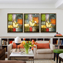 Home decor hotel wall art diy modern handmade three panel abstract canvas oil painting